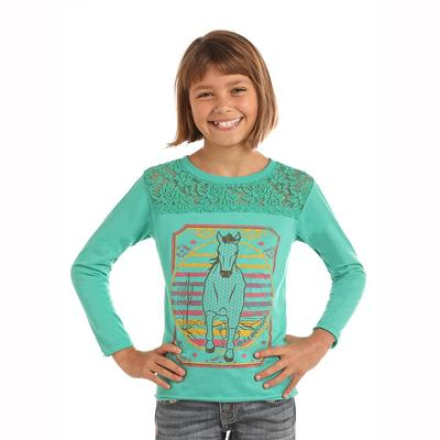 Panhandle Slim Girl's Lace Horse Top