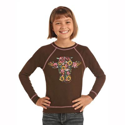 Panhandle Slim Girl's Cow Flower Top