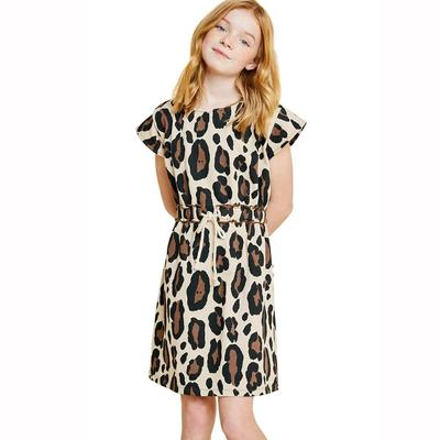 Hayden Girl's Leopard French Terry Dress
