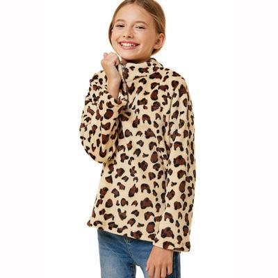 Hayden Girl's Leopard Fleece Mock Neck Sweater