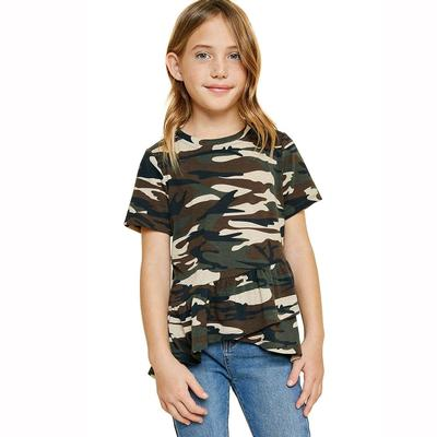 Hayden Girl's Camo Ruffle Highlow T-Shirt