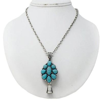 Turquoise Single Squash Blossom Pendant Necklace