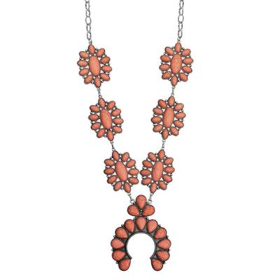 Coral Squash Blossom Necklace