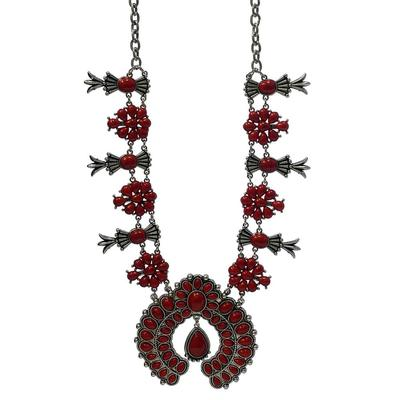 Crimson Squash Blossom Necklace