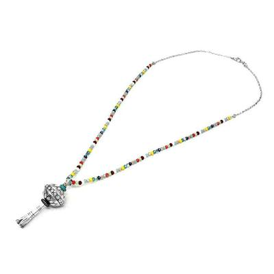 Multi-Colored Beaded Squash Blossom Pendant Necklace