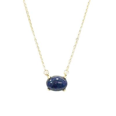 Sapphire Blue Oval Stone Pendant Necklace