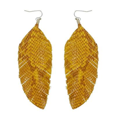 Yellow Snakeskin Leather Feather Earring