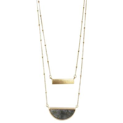 Stone and Brass Pendant Layer Necklace
