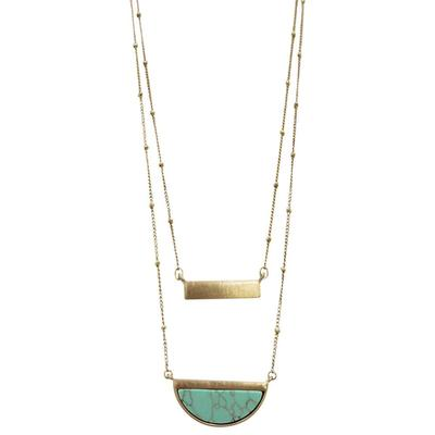 Turquoise and Brass Pendant Layer Necklace