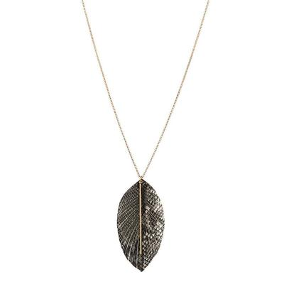 Leather Feather and Metal Bar Necklace