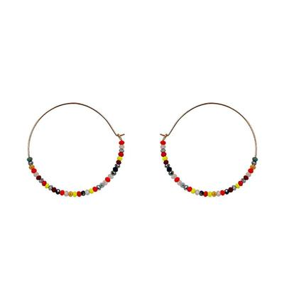 Multi-Colored Crystal Bead Hoop Earring