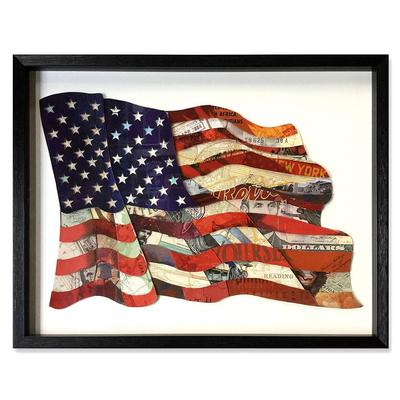 American Flag 3D Collage Art