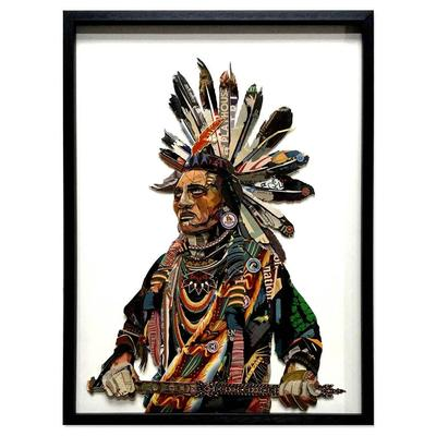 Brave Native American 3D Collage Art