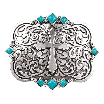 Nocona Women's Cross and Turquoise Belt Buckle