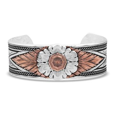 Montana Silversmiths' Antiqued Carved Peony Cuff Bracelet