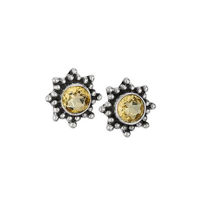 Women's Round Citrine Sunny Stud Earrings