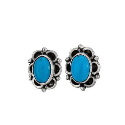 Women's Circle Frame Turquoise Oval Stud Earrings