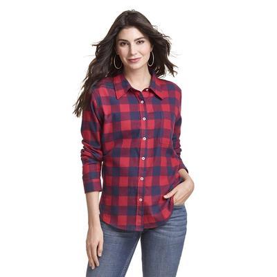 Wrangler Women's Long Sleeve Boyfriend Fit Flannel Shirt