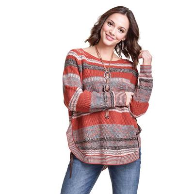 Wrangler Women's Long Sleeve Stripe Concho Sweater