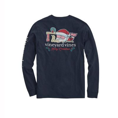 Vineyard Vines Men's Long Sleeve 2019 Santa Whale Shirt