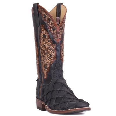 Anderson Bean Men's Tooled Matte Black Big Bass Boots