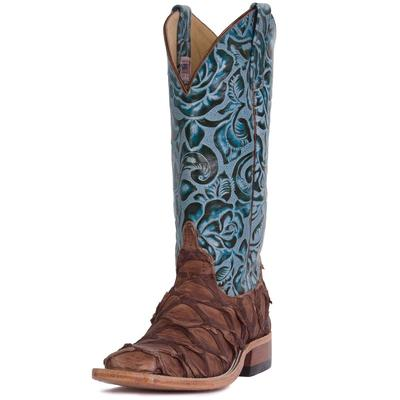 Anderson Bean Women's Teal Tooled Matte Big Bass Boots
