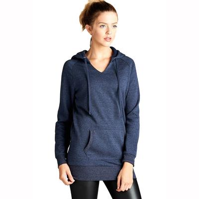 Active Basic Women's Long Sleeve V-Neck Hoodie NVY
