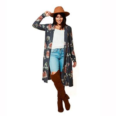 Women's Long Sleeve Floral Print Duster