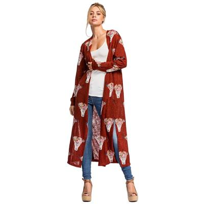 Women's Burgundy Longhorn Print Knit Cardigan