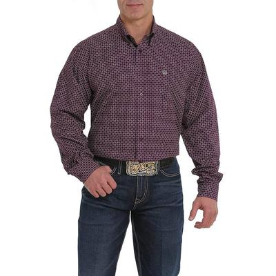 Cinch Men's Long Sleeve Purple and Grey Print Shirt
