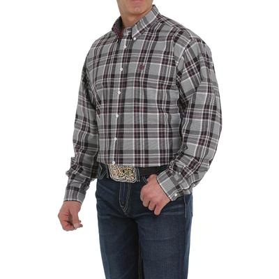 Cinch Men's Long Sleeve Gray and Purple Plaid Shirt