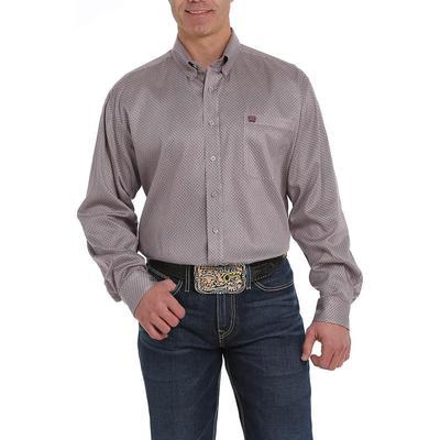 Cinch Men's Long Sleeve Grey and Purple Print Shirt