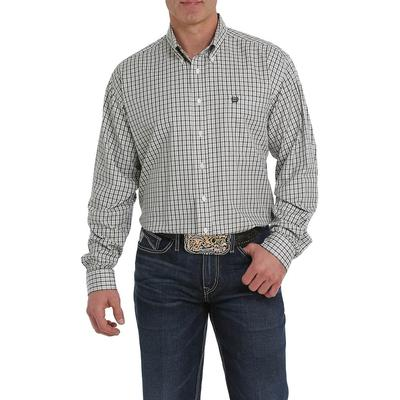 Cinch Men's Olive and Grey Plaid Button Down Shirt