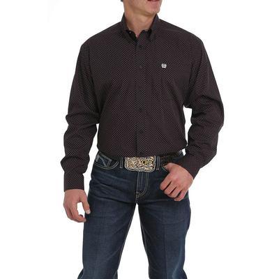 Cinch Men's Black And Purple Dot Print Shirt