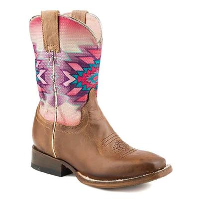 Youth Square Toe Printed Aztec Boot