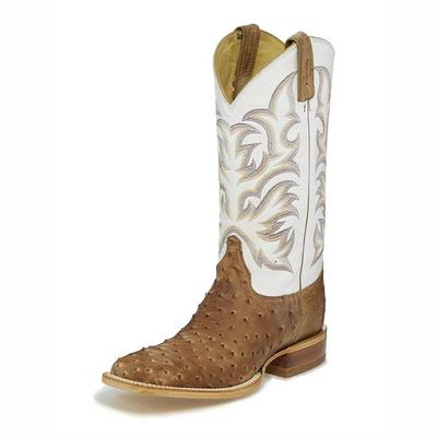 Justin Men's Pascoe Antique Tan Full Quill Ostrich Boots