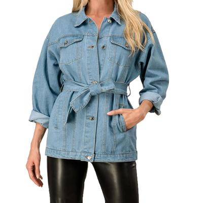 Ladies Button Belted Denim Jacket
