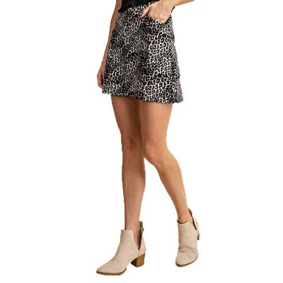 Kori America Women's Animal Zip Leopard Skirt