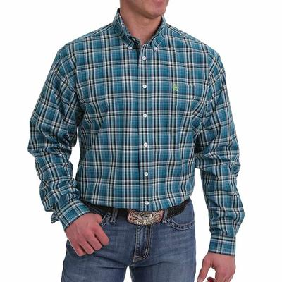 Cinch Men's Teal And Green Plaid Button- Down Western Shirt
