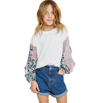 Hayden Girl's Ruffle Paisley Sleeve Top