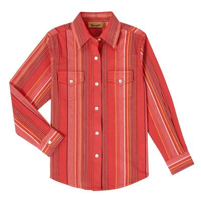 Wrangler Girl's Red Stripe Snap Shirt