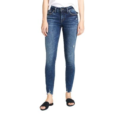 Silver Womens Elyse Mid Rise Skinny Jeans