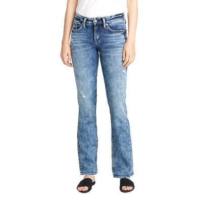 Silver Womens Suki Mid-Rise Slim Boot-cut Jean