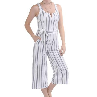 Black Tape Womens Stripped Wide Leg Jumpsuit