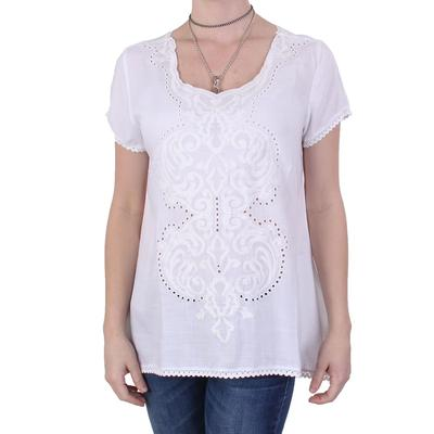 Dylan Womens Embroidered Trapeze Top