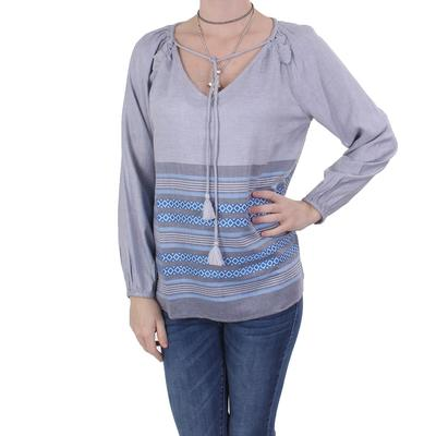 Dylan Womens Chambray Stripe Blouse