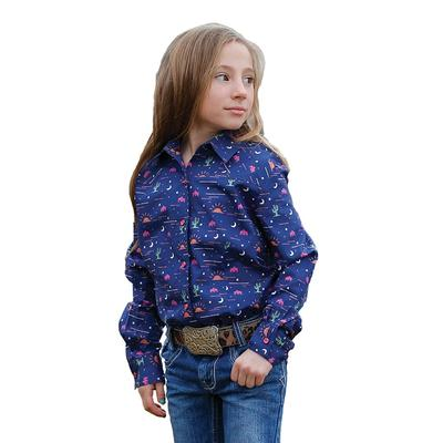 Cruel Girls Navy Desert Print Snap Western Shirt
