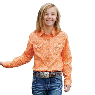 Cruel Girls Orange Southwest Print Snap Western Shirt