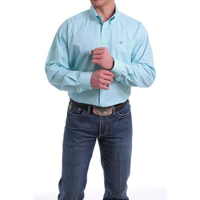 Cinch Mens Blue Geometric Button- Down