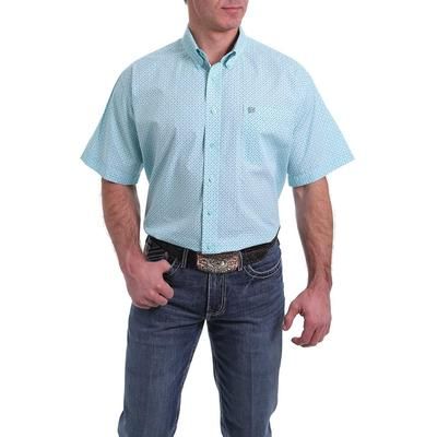 Cinch Mens Short Sleeve Blue Geometric Shirt